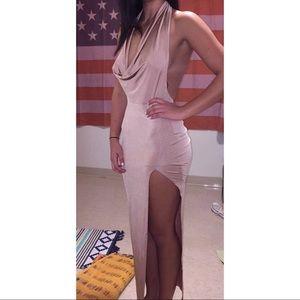 Halter Neck Dress With Slit